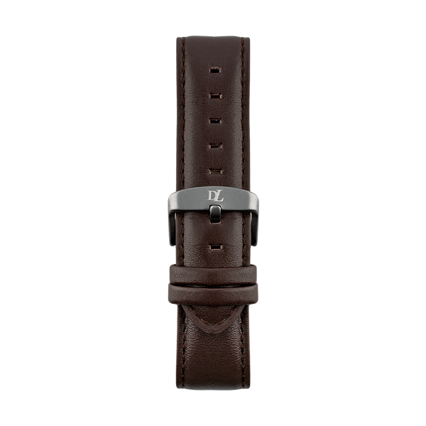 Brown leather watch strap Geneva with gray buckle by Deveron Lewendal brand from Sweden