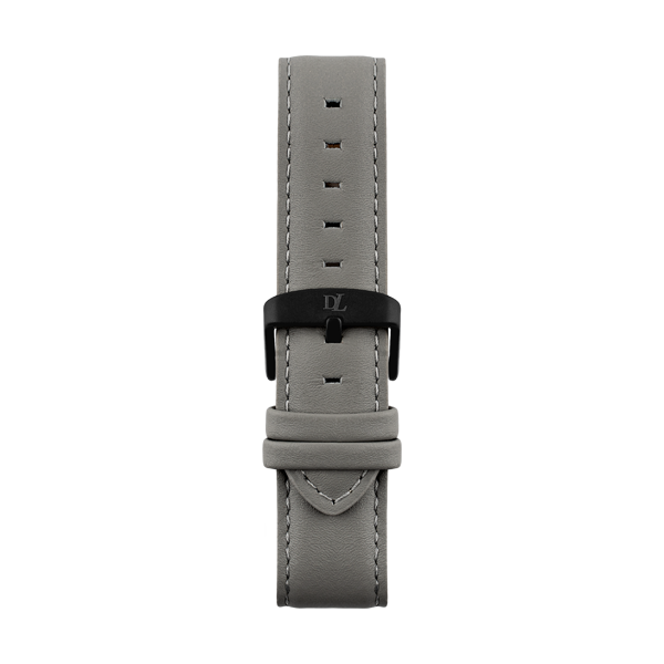 Gray leather strap with black buckle by Deveron Lewendal brand from Sweden