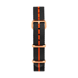 Nato watch strap in gray and orange color with a gold  buckle by Deveron Lewendal brand