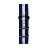 Nato strap in blue and white color with black buckles by Deveron Lewendal brand from Sweden