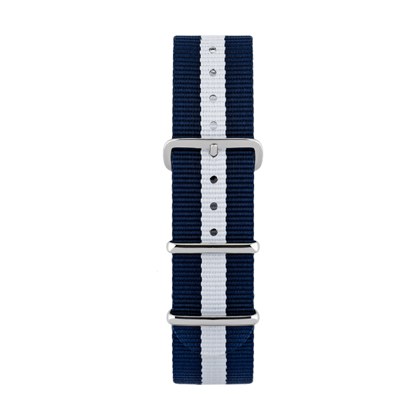 Nato watch strap in white and blue color  with silver buckles  by Deveron Lewendal brand
