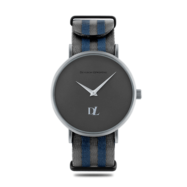 Minimalist watches with gray face 44 mm and Nato strap by Deveron Lewendal