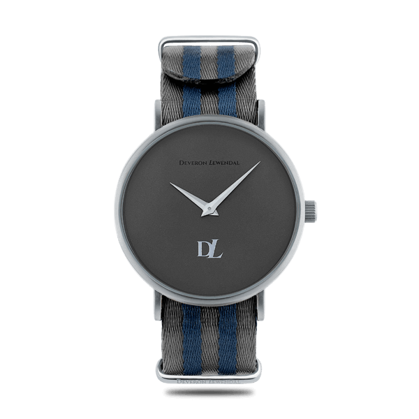 Stylish gray watches 44 mm with Nato band by Deveron Lewendal brand
