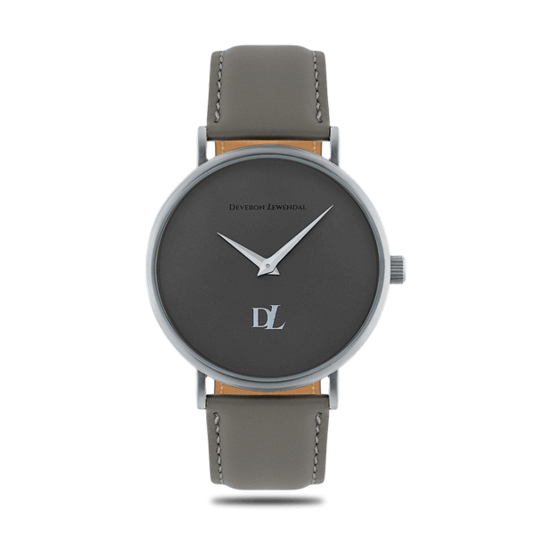 Elegant watches 44 mm  in matte  gray color  by Deveron Lewendal brand