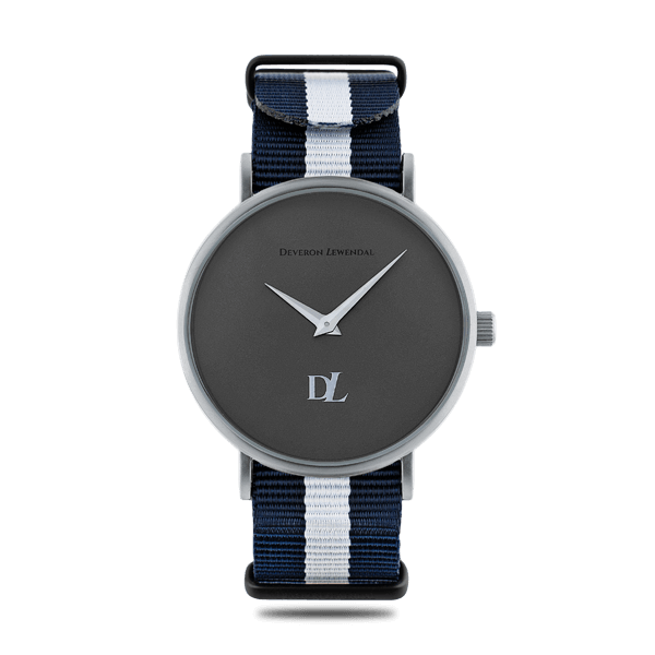 Prime Gray watches 44 mm and Nato strap with black buckles by Deveron Lewendal brand
