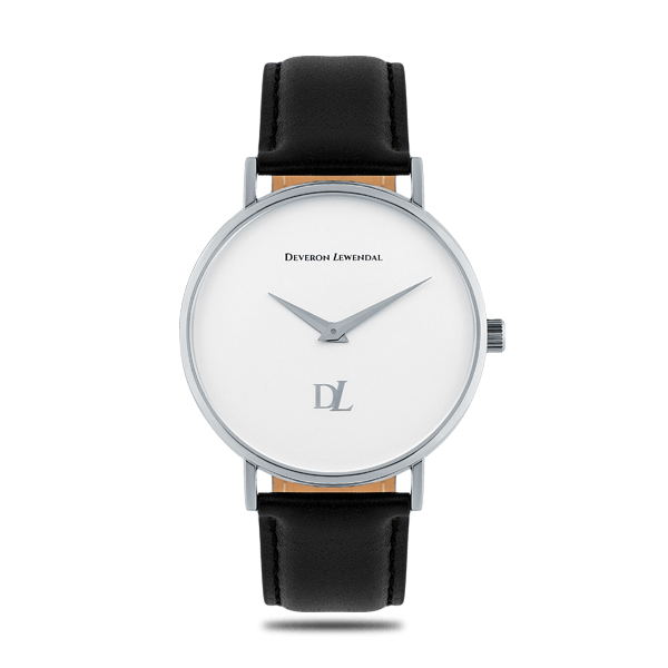 Minimalist quartz watches White Iron with a black strap for men Deveron Lewendal brand