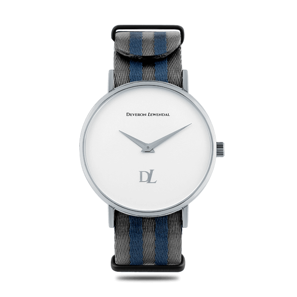 Stylish silver watches with Nato strap by Deveron Lewendal brand