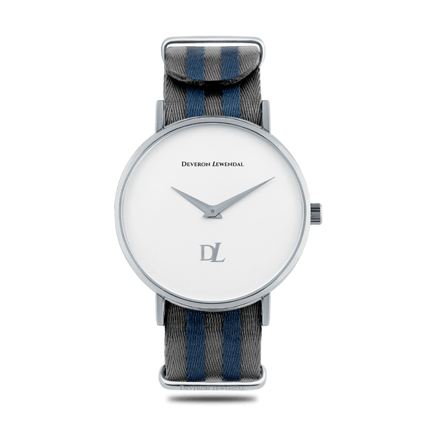 Stylish silver watches with Nato strap by Deveron Lewendal brand from Sweden