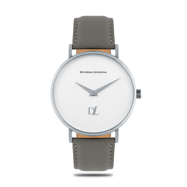 Minimalist silver quartz watches with a gray strap for men Deveron Lewendal brand