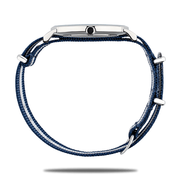 Silver watches with Nato strap in blue and white color by Deveron Lewendal brand from Sweden