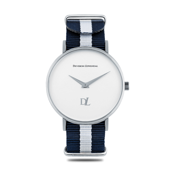 Stylish silver watches with Nato strap in blue and white color by Deveron Lewendal brand