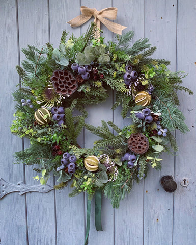 Blueberry Floral Wreath