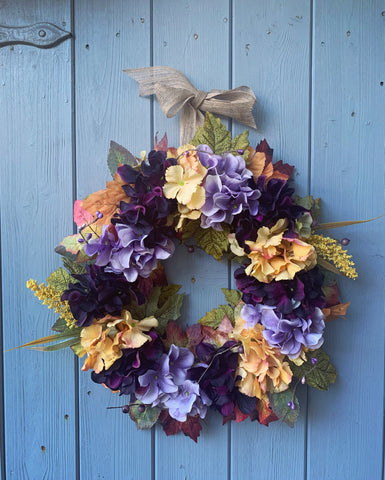Early Autumn Hydrangea Floral Wreath