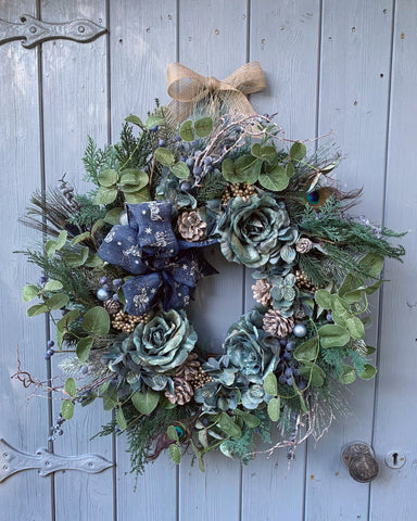 Blue Christmas Floral Wreath