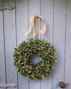 Boxwood & Gyp Floral Wreath