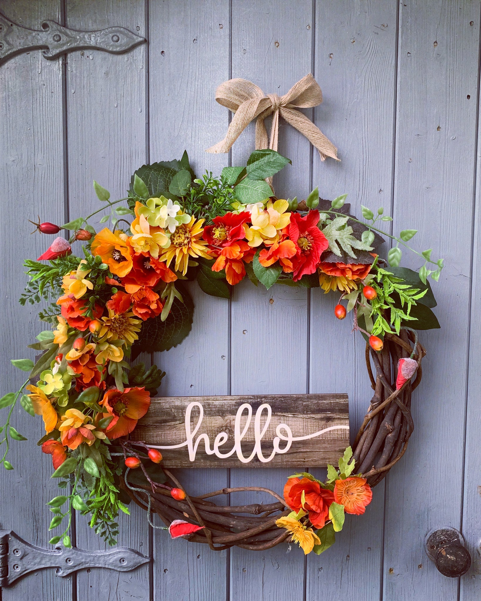 Autumn Sunflower Floral Wreath