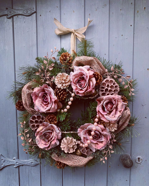 Christmas Romance Floral Wreath