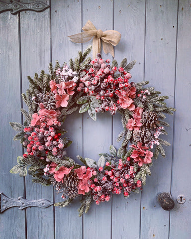 Winter Berries & Hydrangea Floral Wreath