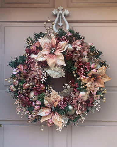 Pink Poinsetta Floral Wreath