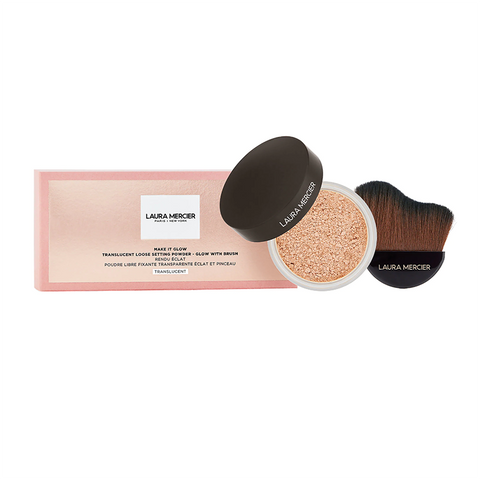 LAURA MERCIER Make it Glow Setting Powder + Brush Set