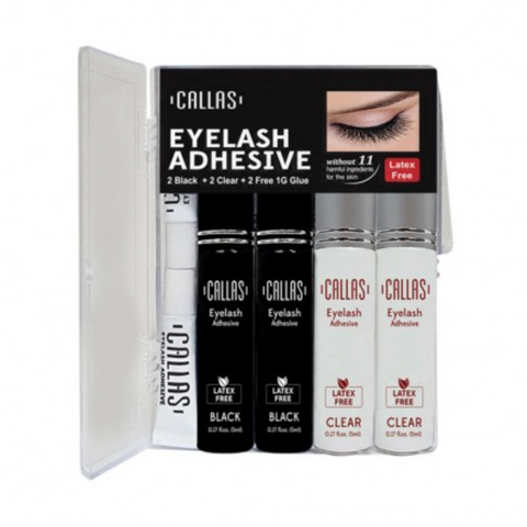 Callas Eyelash Adhesive 4pcs Set (black/clear)