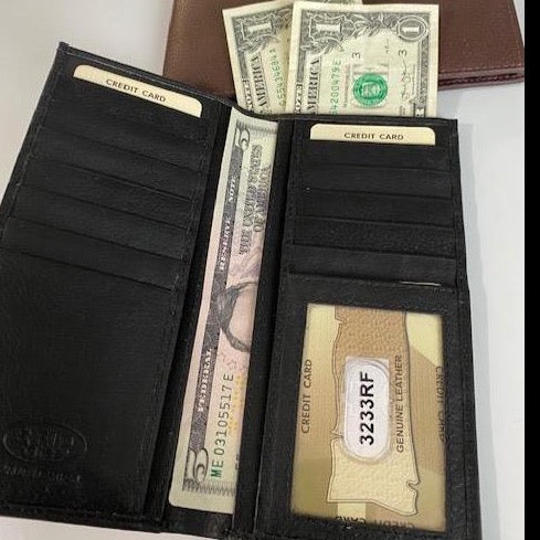Leather Checkbook Wallet Top Pocket 3233RF