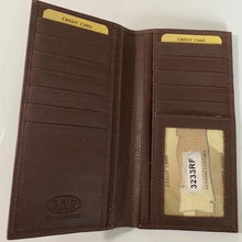Load image into Gallery viewer, Leather Checkbook Wallet Top Pocket 3233RF