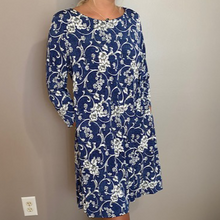 Load image into Gallery viewer, Denim & White A-Line Dress W/Pockets
