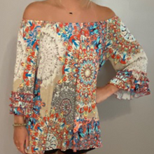 Load image into Gallery viewer, Tan & Orange Ruffle Sleeve Top