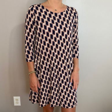 Navy & Tan Dress Symetrical Design