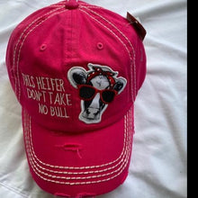 "Load image into Gallery viewer, ""This Heifer Takes No Bull"" Distressed Cotton Cap"