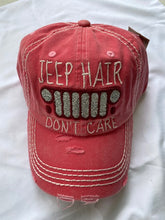 Load image into Gallery viewer, Jeep Hair Don't Care Distressed Cap