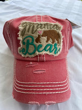 "Load image into Gallery viewer, ""Mama Bear "" Distressed Cotton Cap"