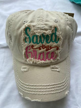 "Load image into Gallery viewer, ""Saved By Grace""  Distressed Cap"