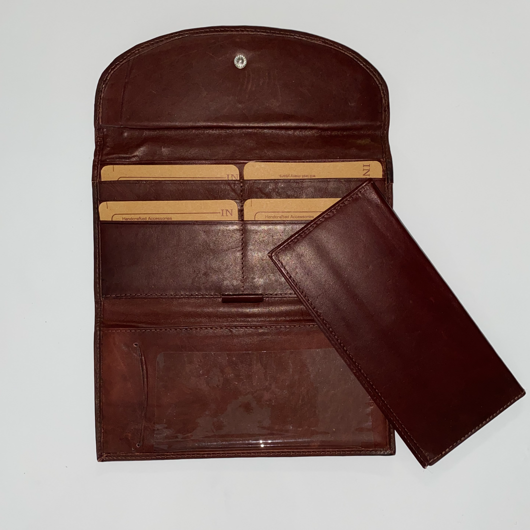 Leather Long wallet With Flap & Checkbook 116