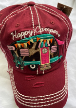 Load image into Gallery viewer, Happy Camper Distressed  Cotton Cap