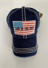 "Load image into Gallery viewer, ""Land Of The Free"" Distressed Cotton Cap"