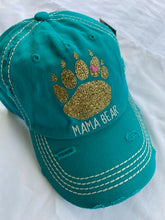"Load image into Gallery viewer, ""Mama Bear Paw""  Distressed Cotton Cap"