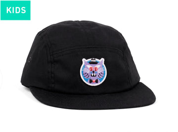 LASER X HEDOF KIDS 5 PANEL HAT CAT BLACK