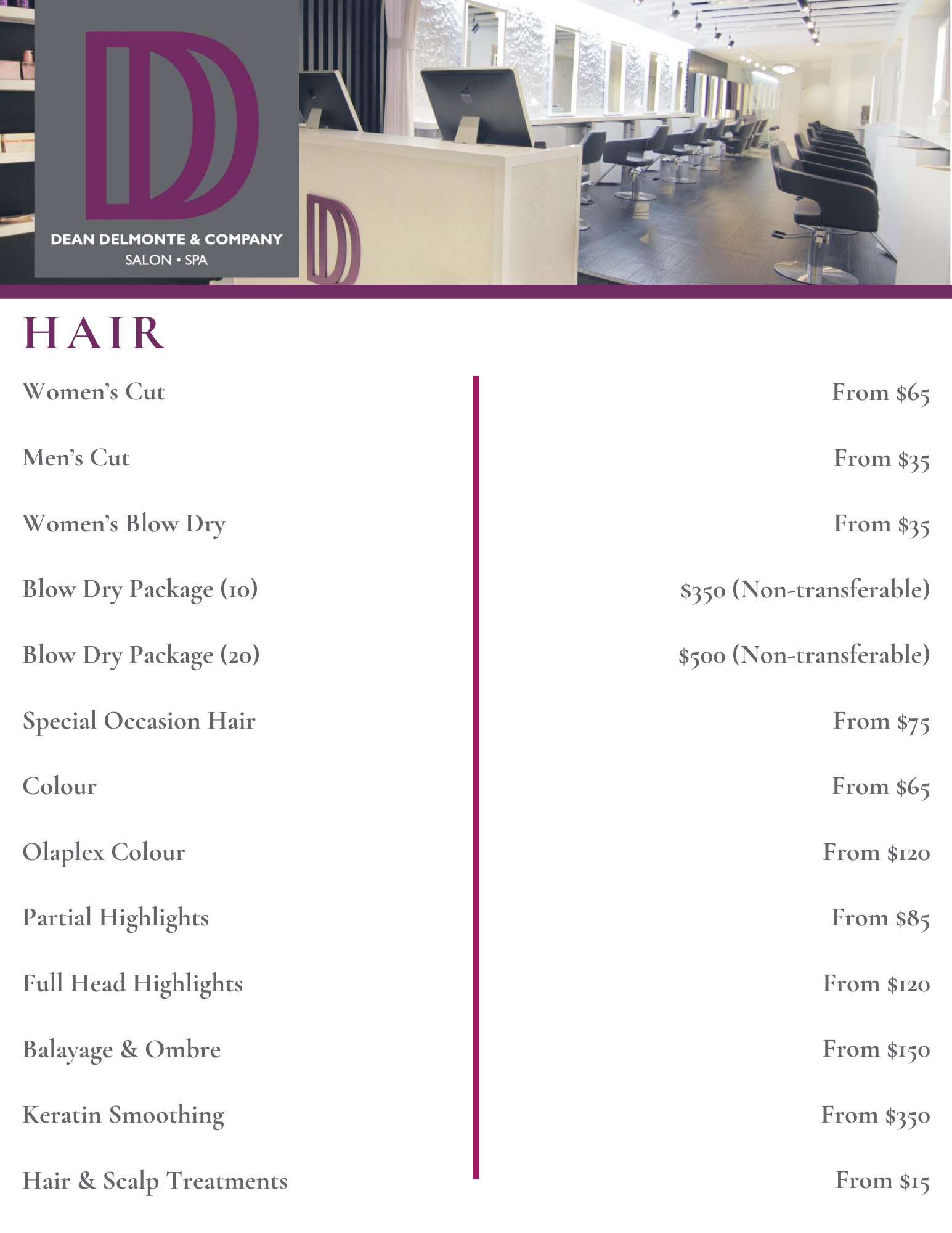 List of Services - Hair - Dean Delmonte & Company