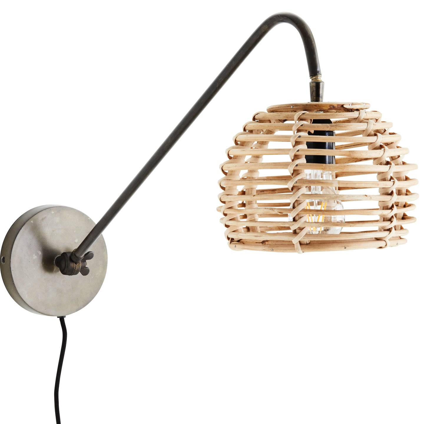 APPLIQUE BAMBOU WALL LAMP W/ BAMBOO SHADE