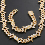 12MM Iced Out Barbed Wire Cuban Link Bracelet