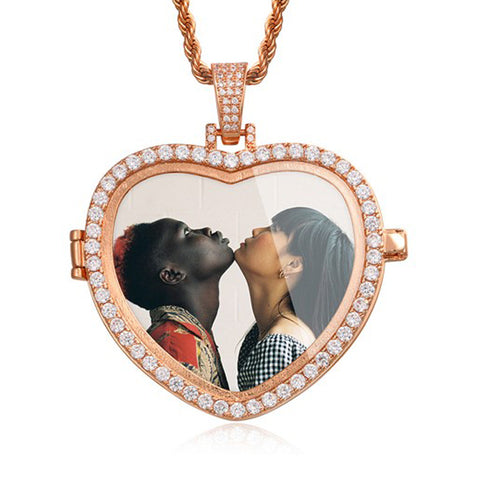 Custom Heart Photo Medallion Necklace (Openable)