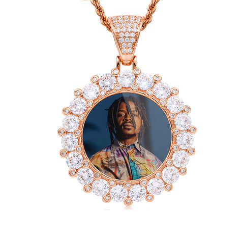 Custom Diamond Edge Photo Medallion Necklace