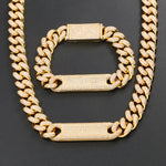 12MM Iced Out ID Bar Cuban Link Bracelet