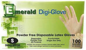 Emerald Powder Free Disposable Latex Gloves (S)