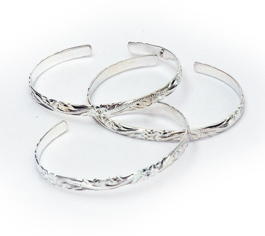 Silver Etched Cuff Bangle