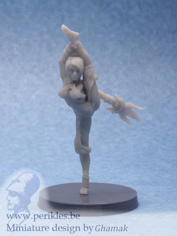 Female Fighting Monk 1 (28mm miniature)