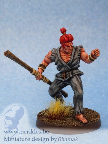 Male Fighting Monk (28mm miniature)