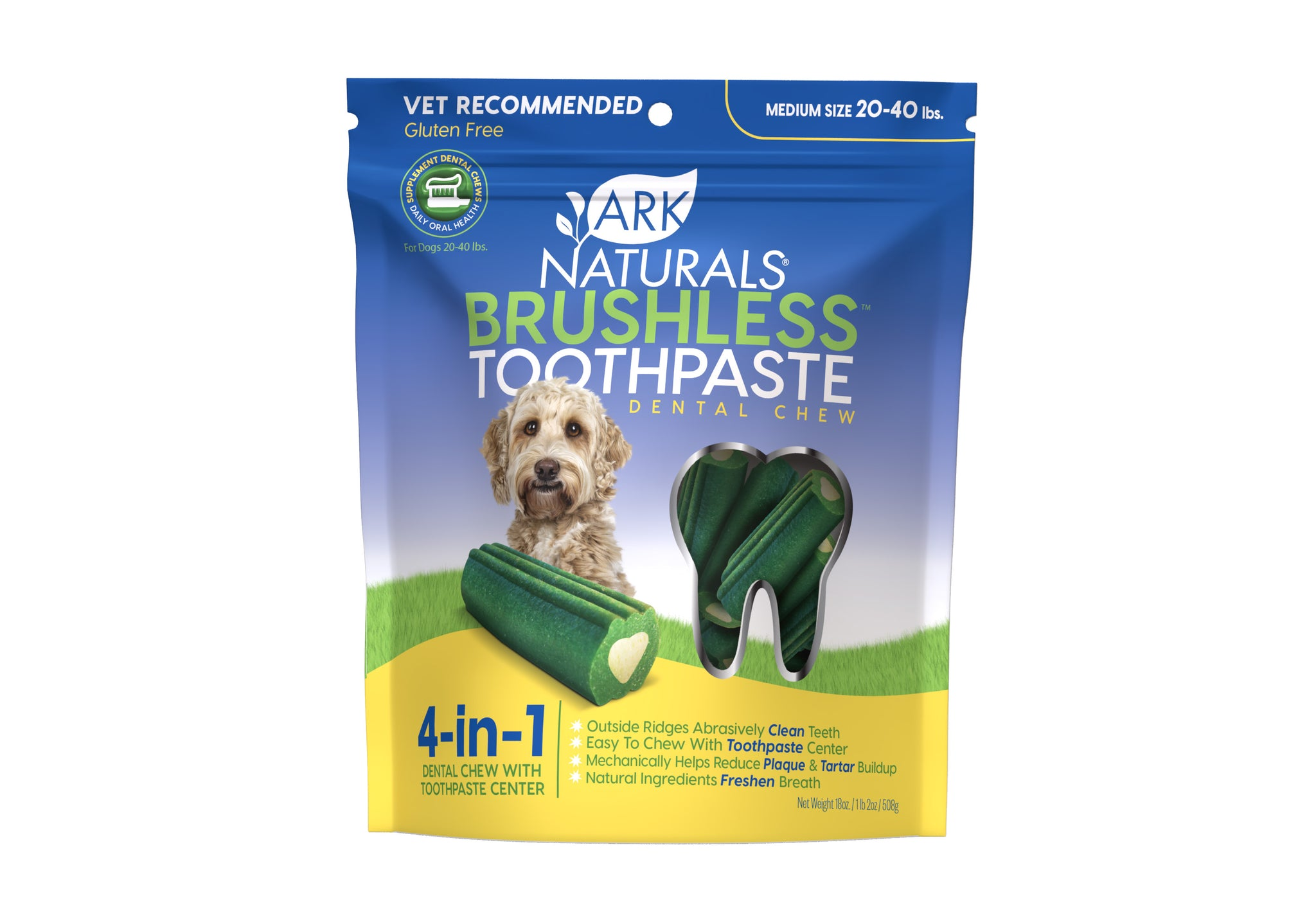 Ark Naturals Breath-Less Brushless Toothpaste Medium Dog Chews, 18-oz bag